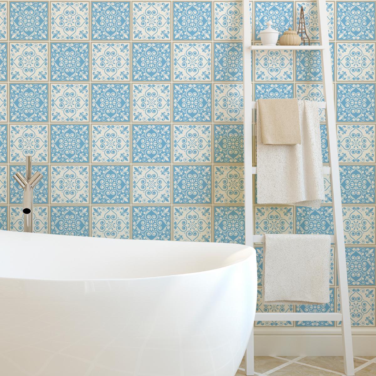 60 stickers carrelages azulejos gloria salle de bain et wc salle de bain ambiance sticker. Black Bedroom Furniture Sets. Home Design Ideas