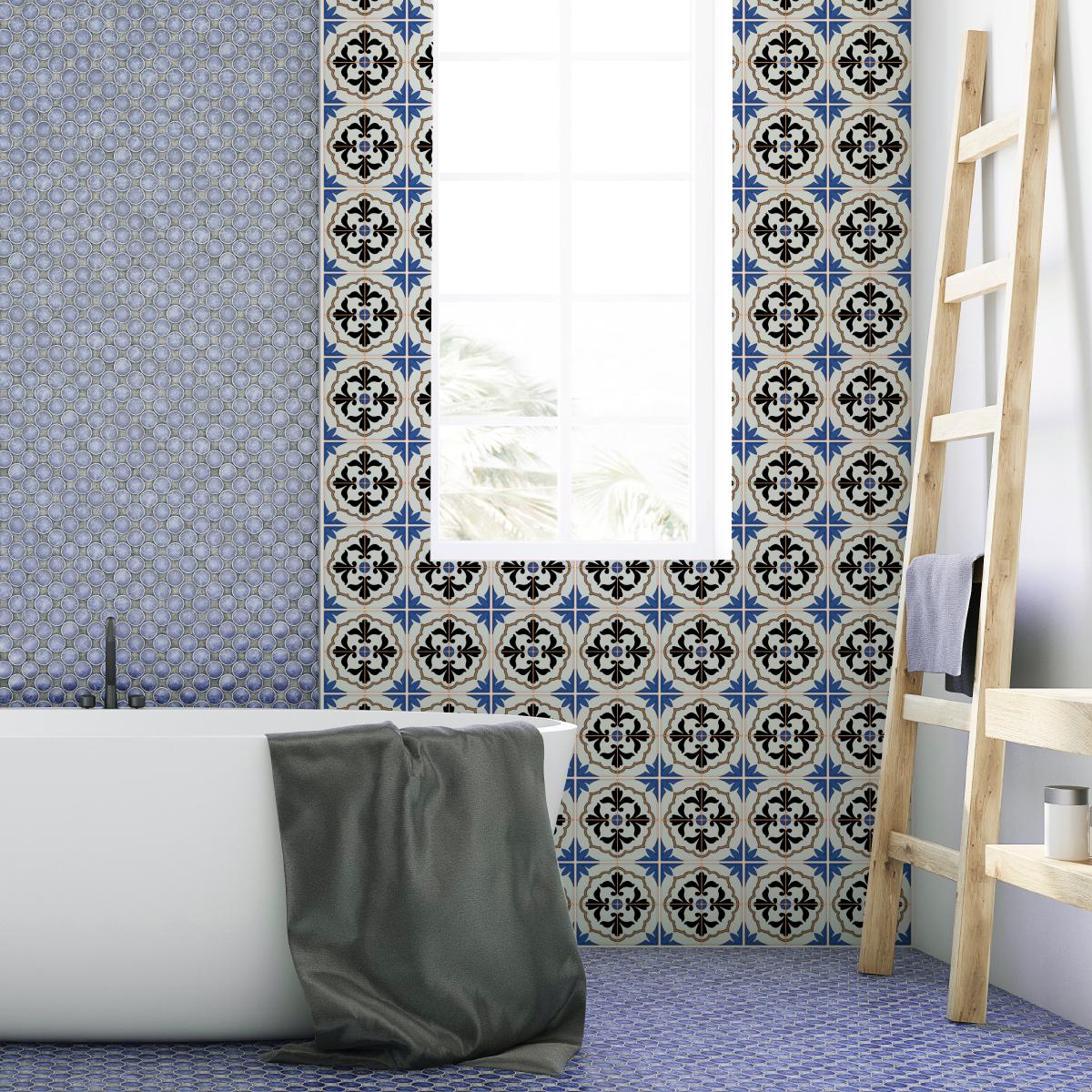 60 stickers carrelages azulejos joao salle de bain et wc salle de bain ambiance sticker. Black Bedroom Furniture Sets. Home Design Ideas