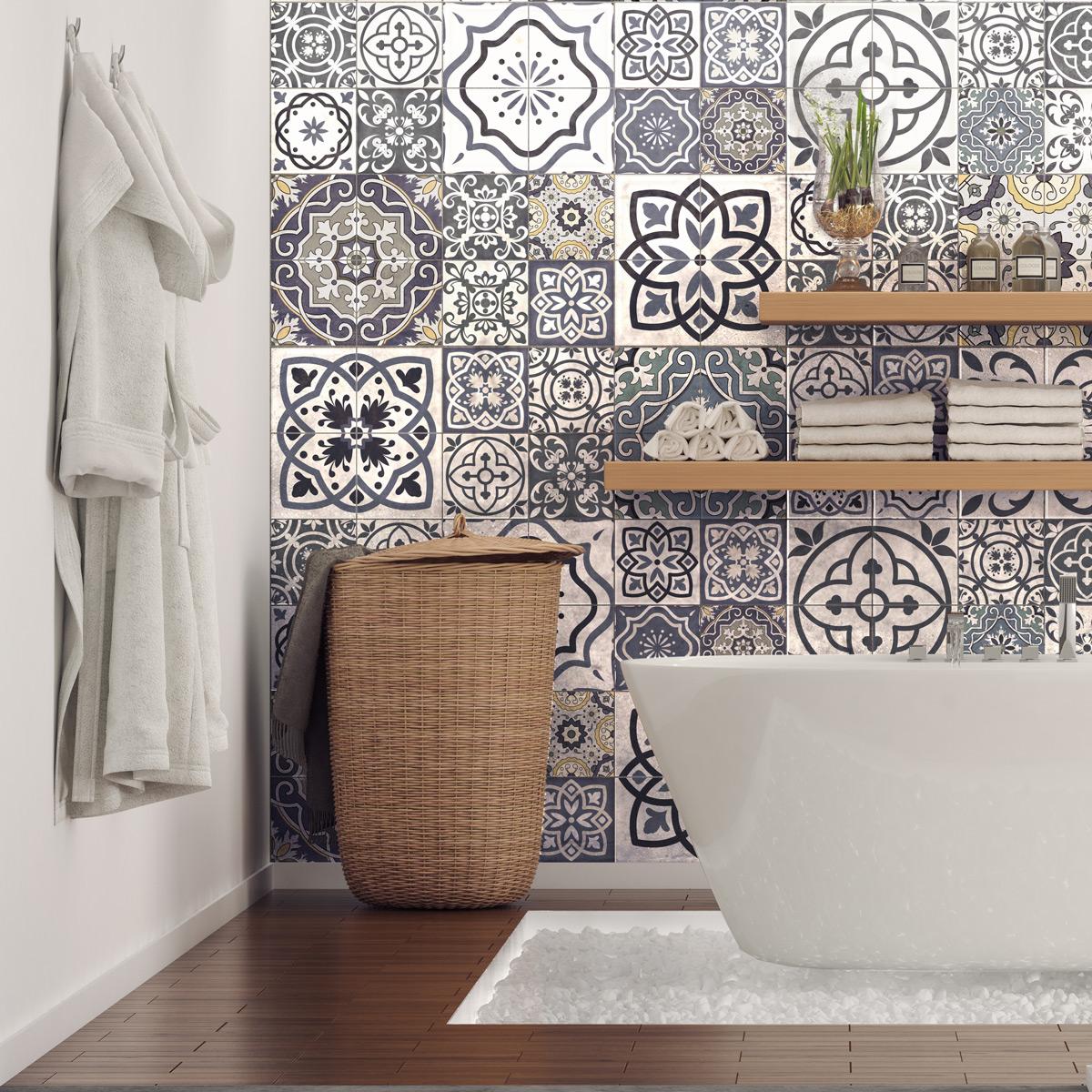 60 stickers carrelages azulejos milonga salle de bain et. Black Bedroom Furniture Sets. Home Design Ideas
