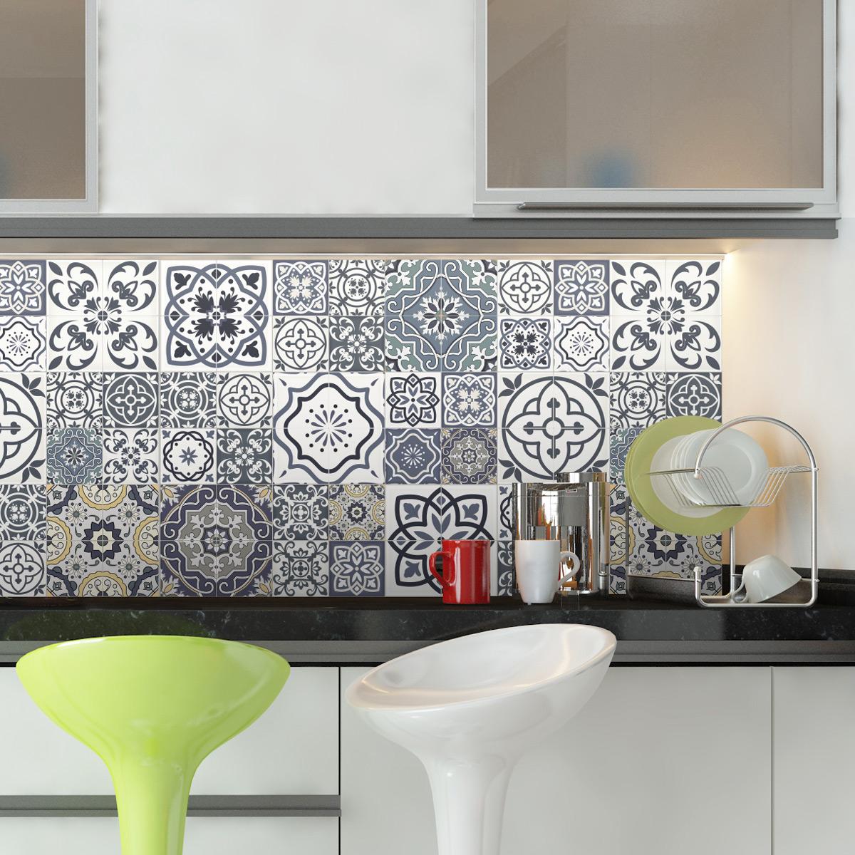 60 stickers carrelages azulejos milonga salle de bain et wc salle de bain ambiance sticker. Black Bedroom Furniture Sets. Home Design Ideas