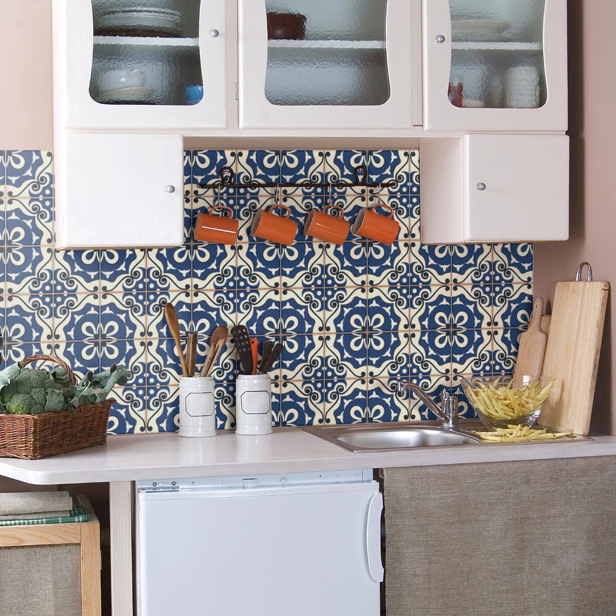 60 stickers carrelages azulejos novella salle de bain et. Black Bedroom Furniture Sets. Home Design Ideas