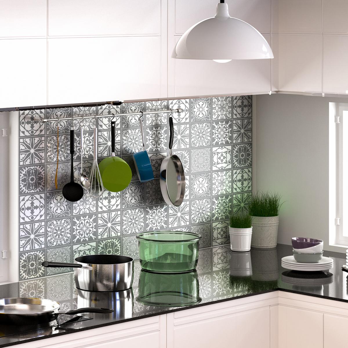 60 stickers carrelages azulejos nuance de gris authentiques art et design artistiques. Black Bedroom Furniture Sets. Home Design Ideas