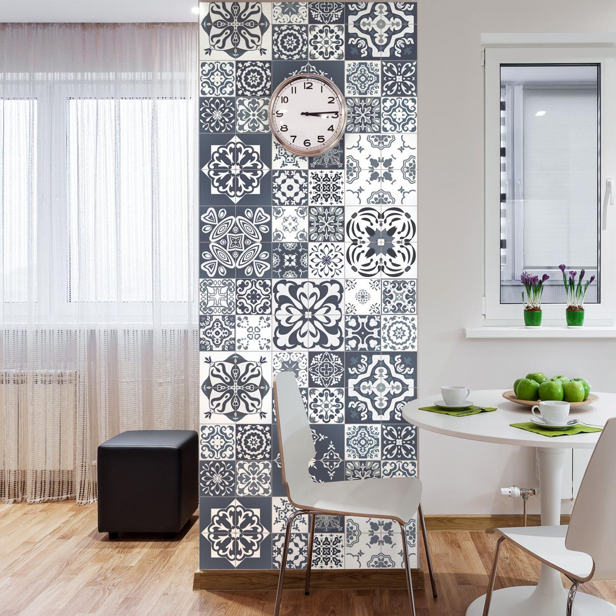 60 stickers carrelages azulejos nuances de gris tsamikos salle de bain et wc salle de bain. Black Bedroom Furniture Sets. Home Design Ideas