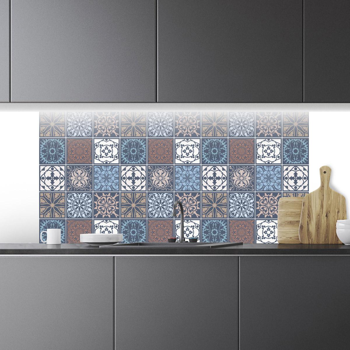 60 stickers carrelages azulejos ornements artistique art. Black Bedroom Furniture Sets. Home Design Ideas