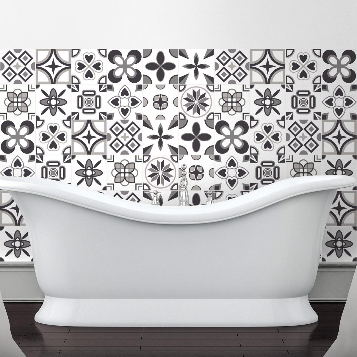 60 stickers carrelages azulejos rosaces nuance de gris art et design artistiques ambiance. Black Bedroom Furniture Sets. Home Design Ideas