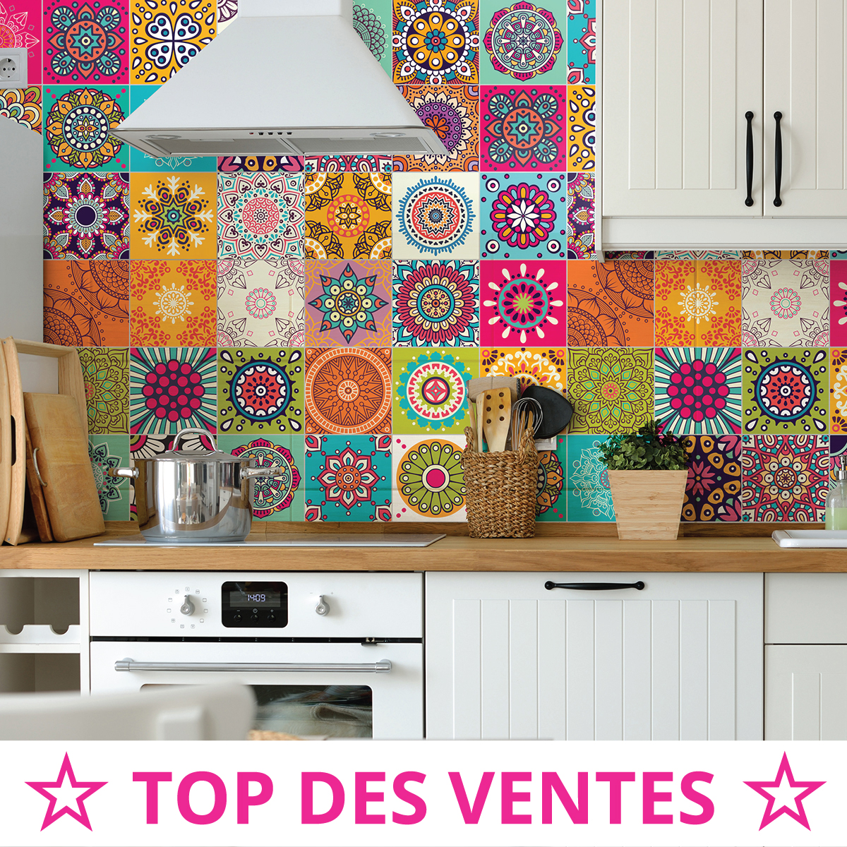 60 stickers carrelages azulejos roses multicolore art et - Stickers carrelage cuisine pas cher ...