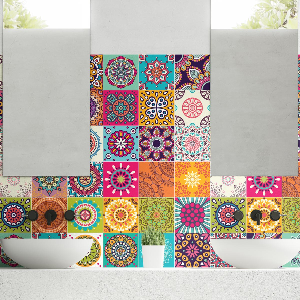 60 stickers carrelages azulejos roses multicolore art et design artistiques ambiance sticker. Black Bedroom Furniture Sets. Home Design Ideas