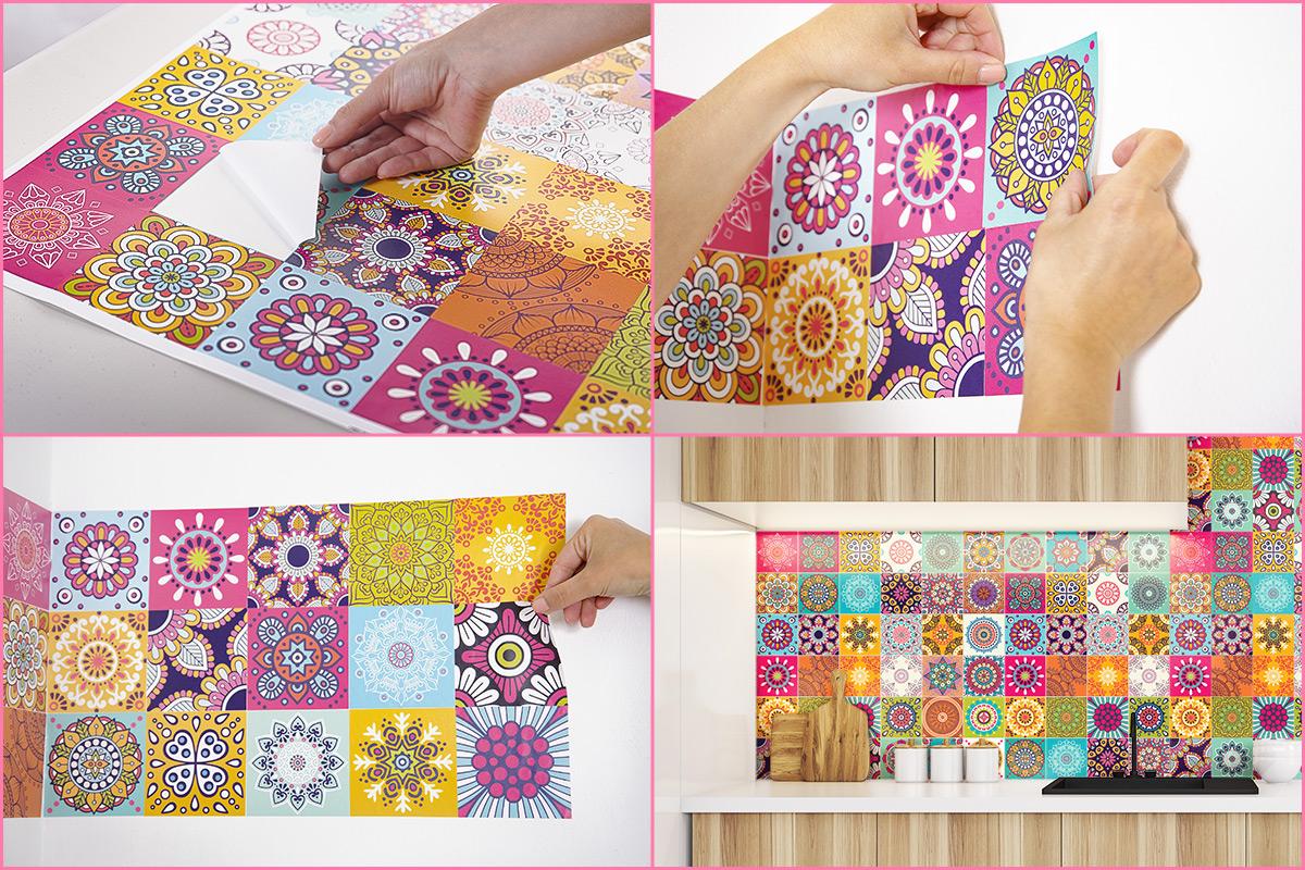 60 stickers carrelages azulejos roses multicolore art et for Carrelage 15x15 couleur