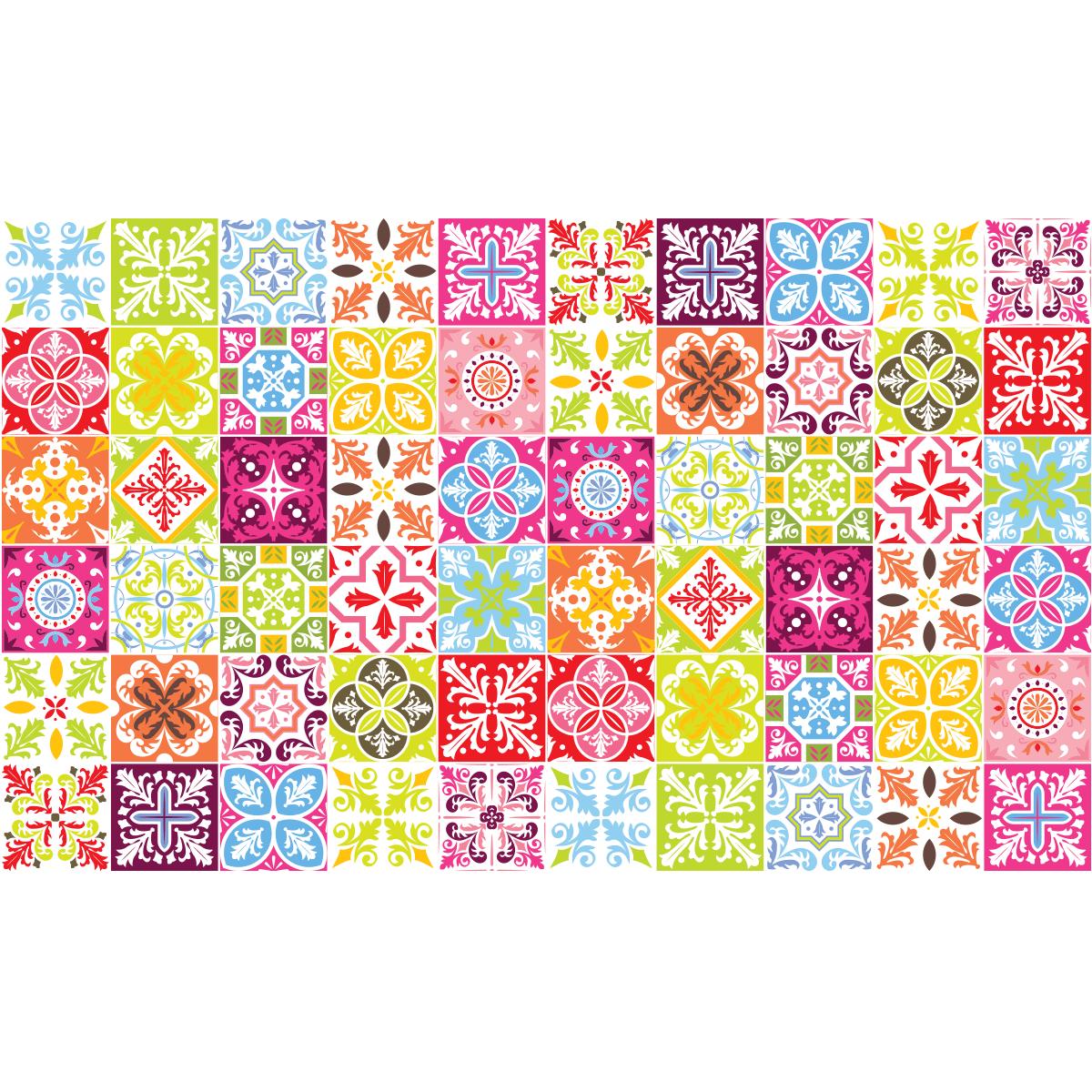 60 stickers carrelages azulejos vintage arabesques art et design artistiques ambiance sticker. Black Bedroom Furniture Sets. Home Design Ideas