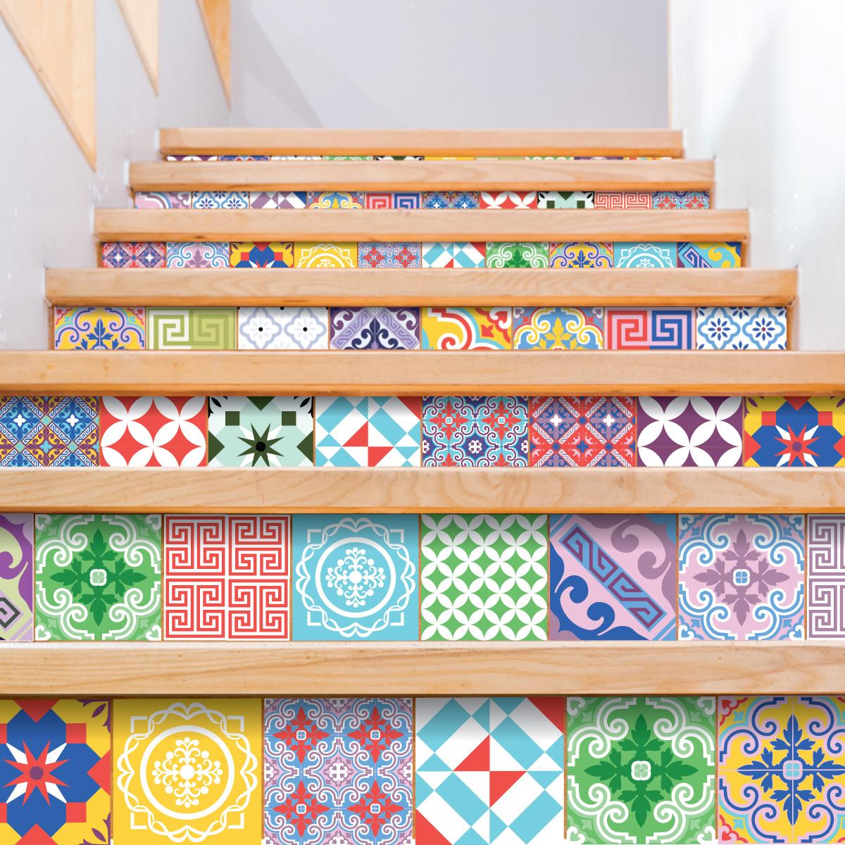 60 stickers carrelages azulejos vintage artistiques art for Carrelage mural retro
