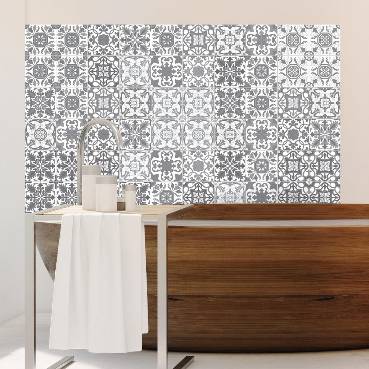 60 stickers carrelages azulejos vintage nuance de gris art et design artistiques ambiance. Black Bedroom Furniture Sets. Home Design Ideas