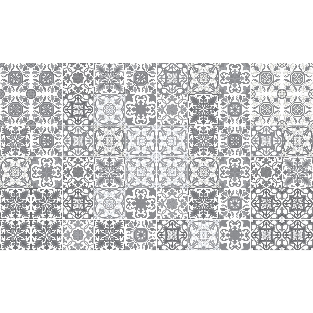 60 stickers carrelages azulejos vintage nuance de gris. Black Bedroom Furniture Sets. Home Design Ideas