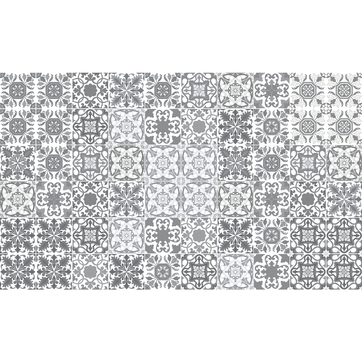 60 stickers carrelages azulejos vintage nuance de gris for Carrelage salle de bain gris rose