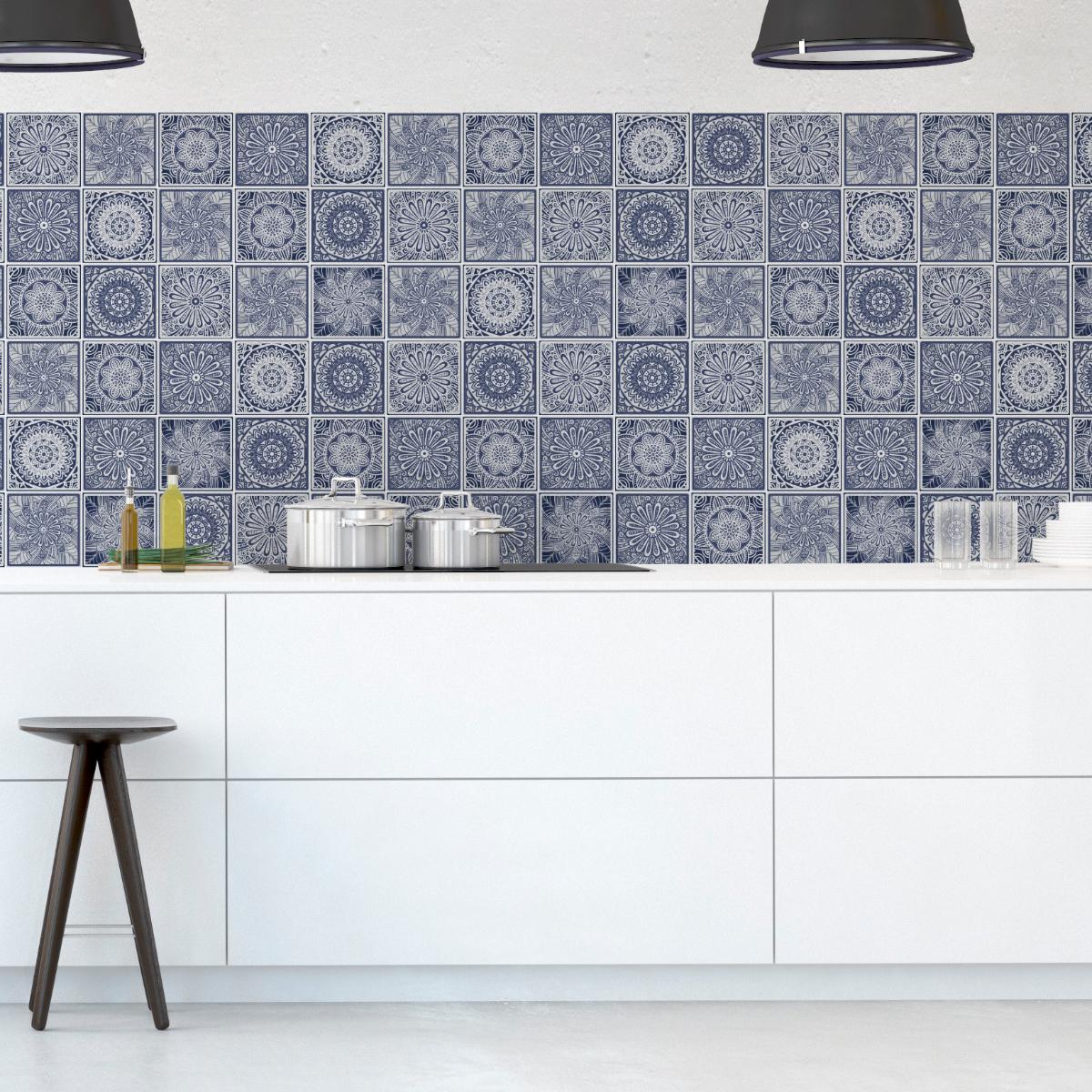 60 stickers carrelages ethnique ocatlana cuisine. Black Bedroom Furniture Sets. Home Design Ideas