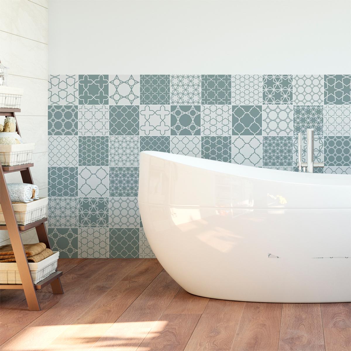60 stickers carrelages scandinave kvasir salle de bain for Carrelage salle de bain scandinave