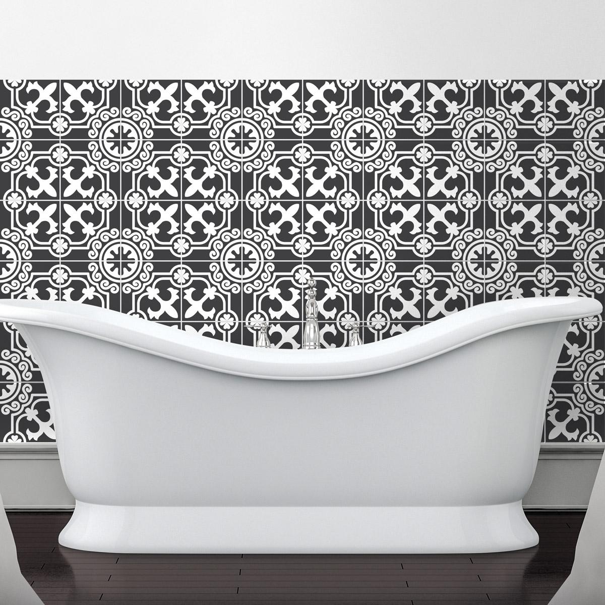 60 stickers carrelages tiles arabesque nuance de gris art et design artistiques ambiance sticker. Black Bedroom Furniture Sets. Home Design Ideas