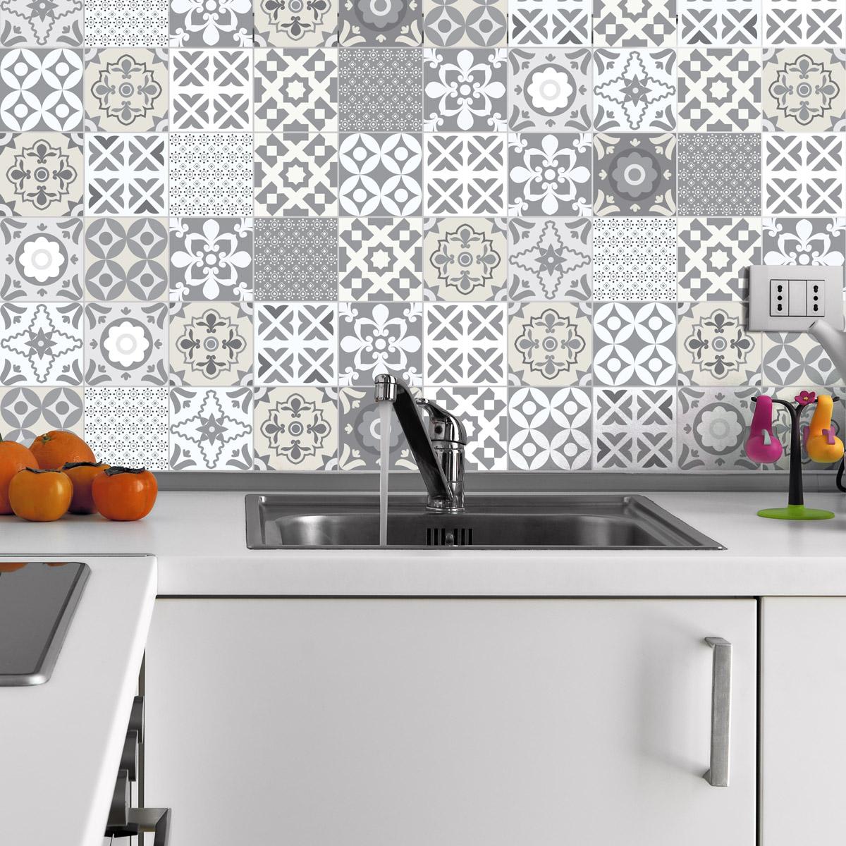 60 stickers carrelages tiles artistique nuance de gris art et design artistiques ambiance. Black Bedroom Furniture Sets. Home Design Ideas