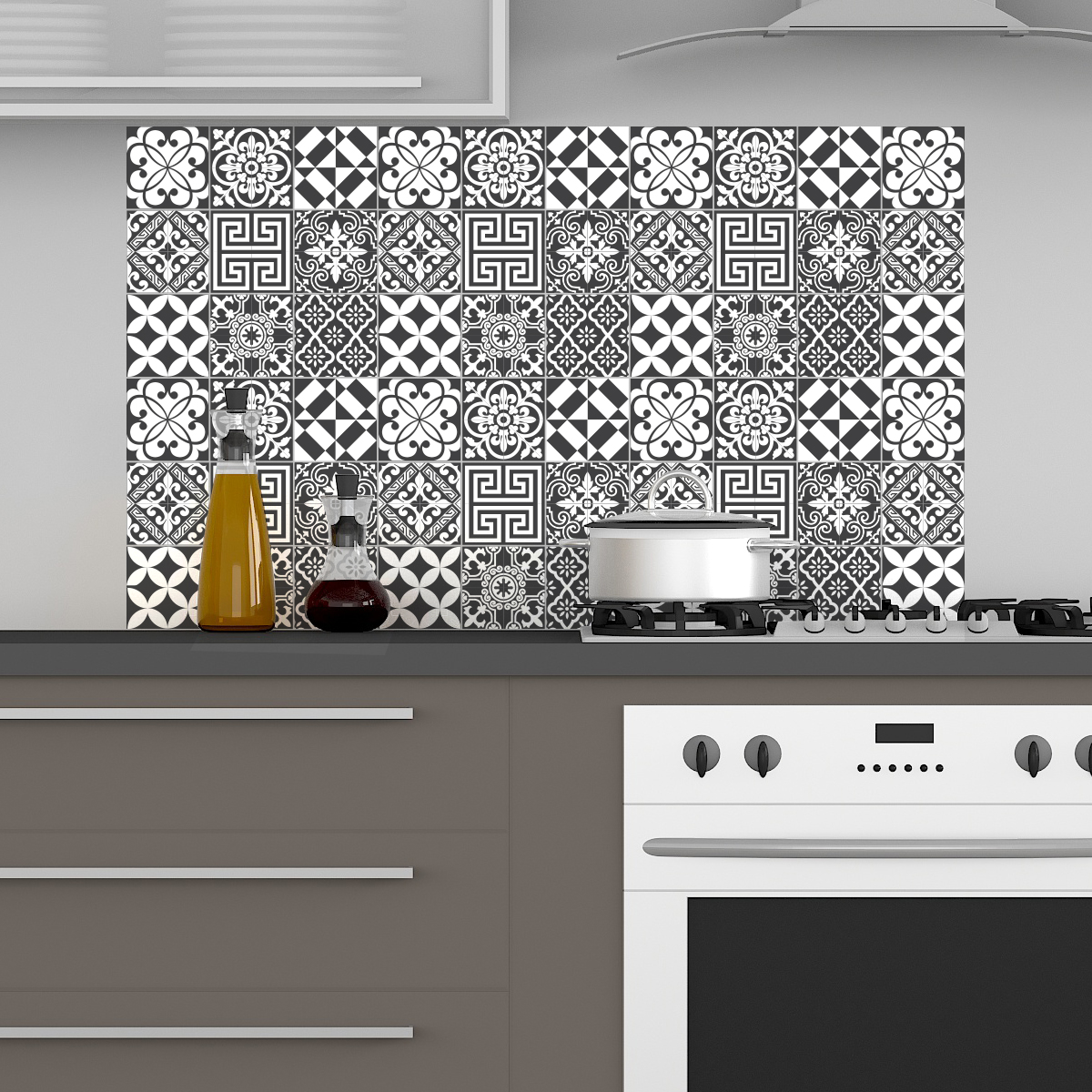 60 stickers carrelages tiles traditionnels nuance de gris art et design artistiques ambiance. Black Bedroom Furniture Sets. Home Design Ideas