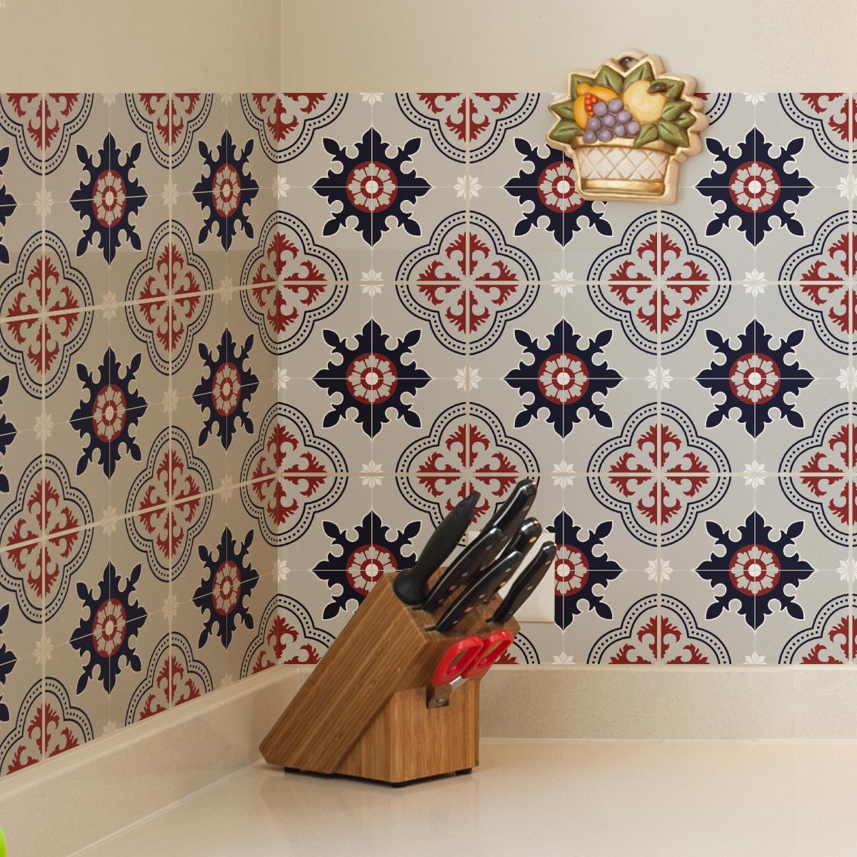 9 stickers carreaux de ciment azulejos admeta cuisine. Black Bedroom Furniture Sets. Home Design Ideas