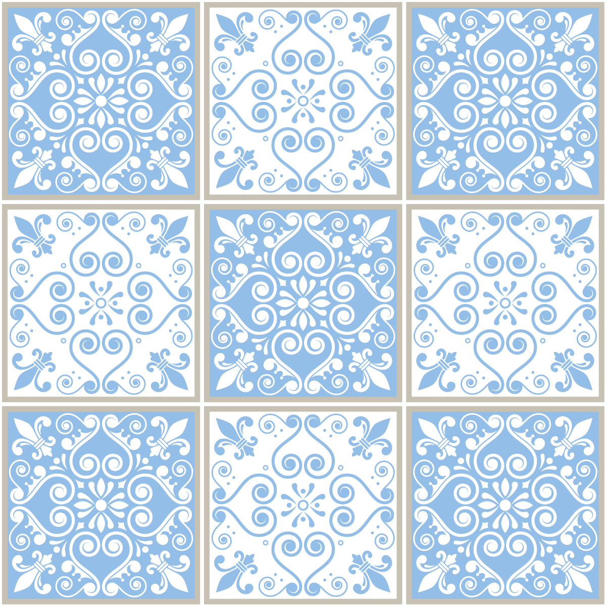 9 stickers carreaux de ciment azulejos adolfo salle de bain et wc salle de bain ambiance sticker. Black Bedroom Furniture Sets. Home Design Ideas