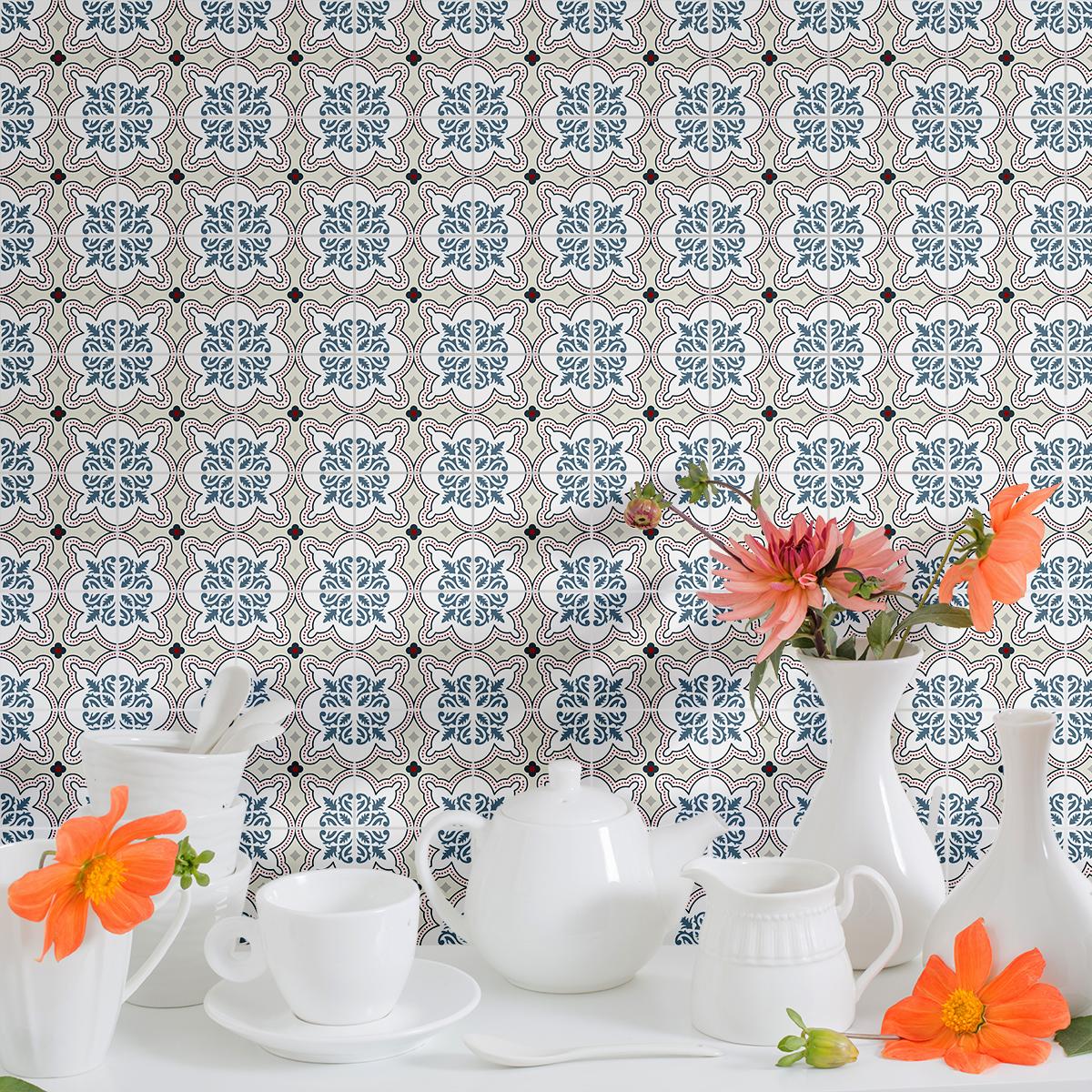 9 stickers carreaux de ciment azulejos amadis cuisine. Black Bedroom Furniture Sets. Home Design Ideas