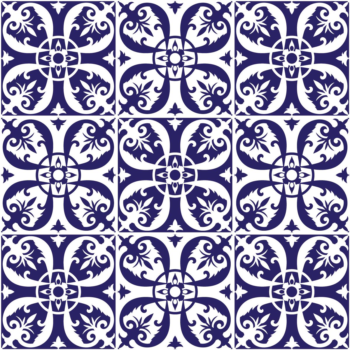 9 stickers carreaux de ciment azulejos amparo salle de bain et wc salle de bain ambiance sticker. Black Bedroom Furniture Sets. Home Design Ideas