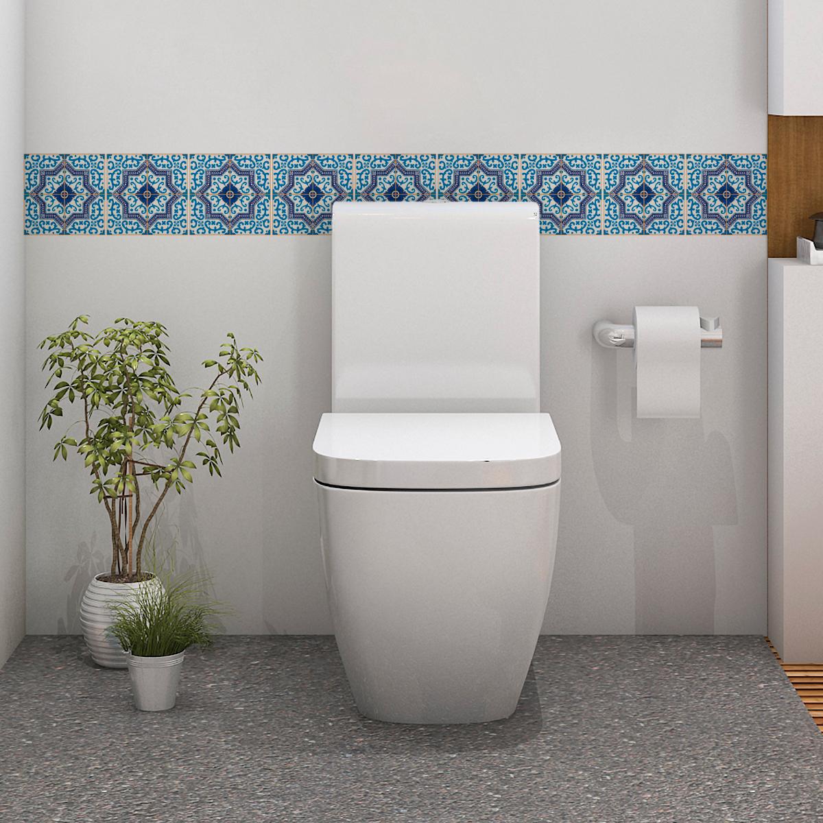 9 stickers carreaux de ciment azulejos aurelio salle de bain et wc salle de bain ambiance. Black Bedroom Furniture Sets. Home Design Ideas