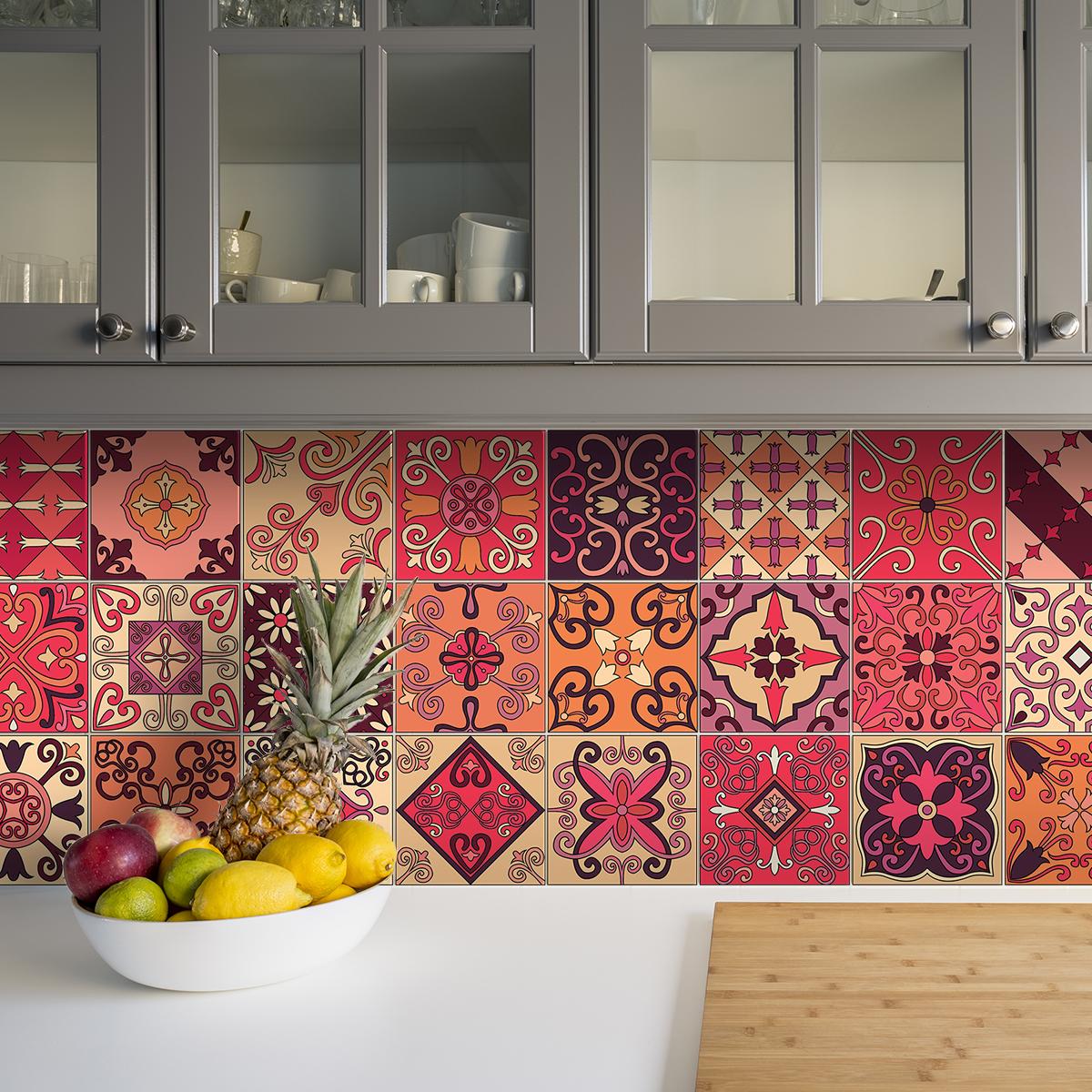 9 stickers carreaux de ciment azulejos cipriano cuisine - Stickers cuisine carrelage ...