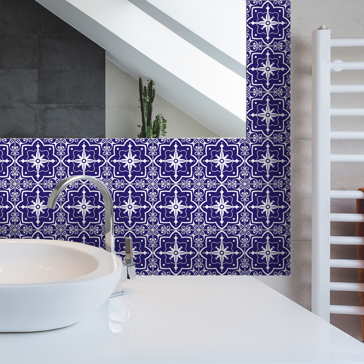 9 stickers carreaux de ciment azulejos gracia salle de bain et wc salle de bain ambiance sticker. Black Bedroom Furniture Sets. Home Design Ideas