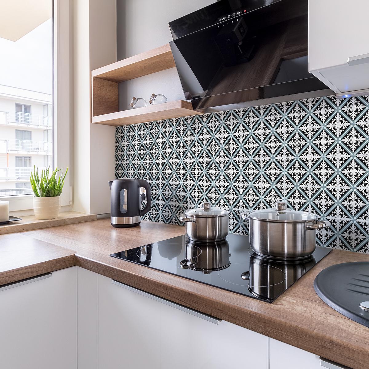 9 stickers carreaux de ciment azulejos laelia cuisine. Black Bedroom Furniture Sets. Home Design Ideas