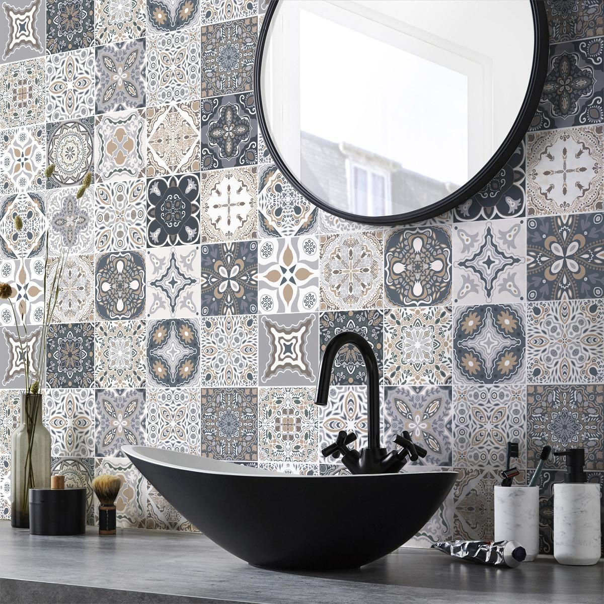 9 stickers carreaux de ciment azulejos orfeo cuisine carrelages ambiance sticker. Black Bedroom Furniture Sets. Home Design Ideas