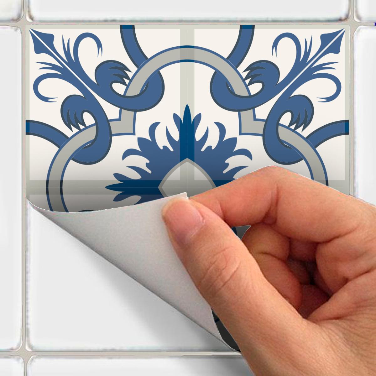 9 stickers carreaux de ciment azulejos orsino salle de bain et wc salle de bain ambiance sticker. Black Bedroom Furniture Sets. Home Design Ideas