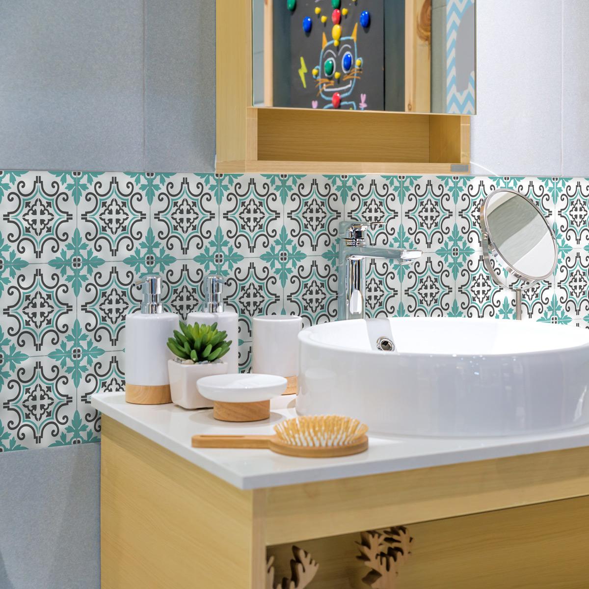 9 stickers carreaux de ciment azulejos renata cuisine carrelages ambiance sticker. Black Bedroom Furniture Sets. Home Design Ideas