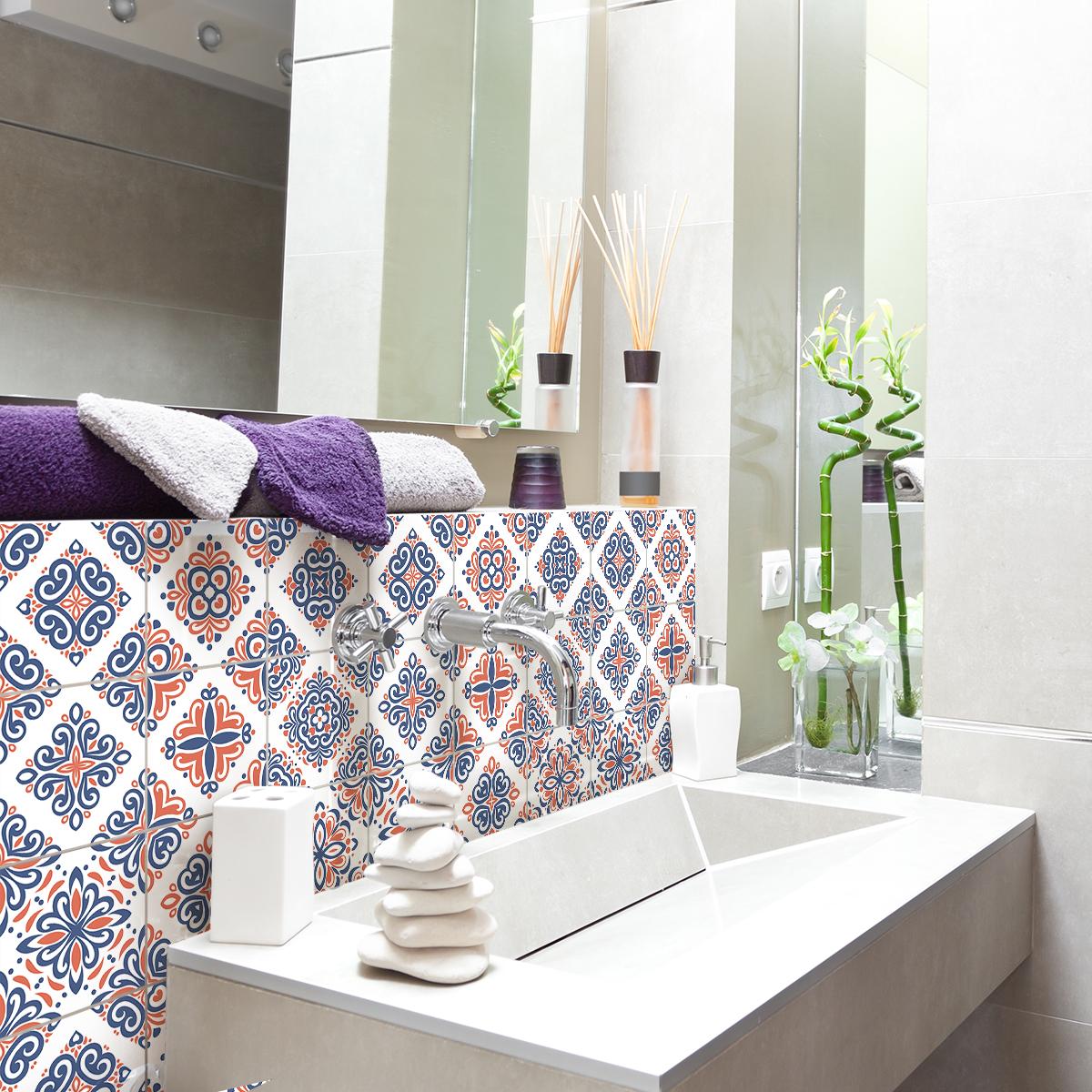 9 stickers carreaux de ciment azulejos riffo cuisine. Black Bedroom Furniture Sets. Home Design Ideas