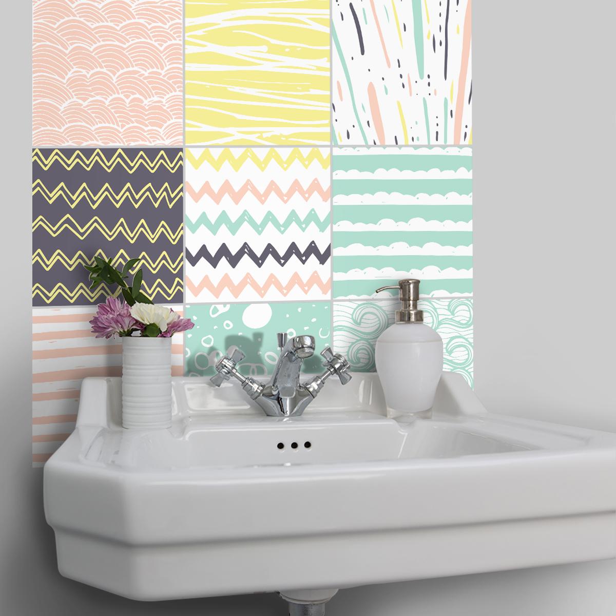 9 stickers carreaux de ciment azulejos sabatino cuisine carrelages ambiance sticker. Black Bedroom Furniture Sets. Home Design Ideas