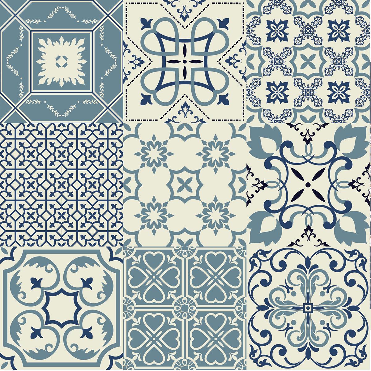 9 stickers carreaux de ciment azulejos teo cuisine carrelages ambiance sticker. Black Bedroom Furniture Sets. Home Design Ideas