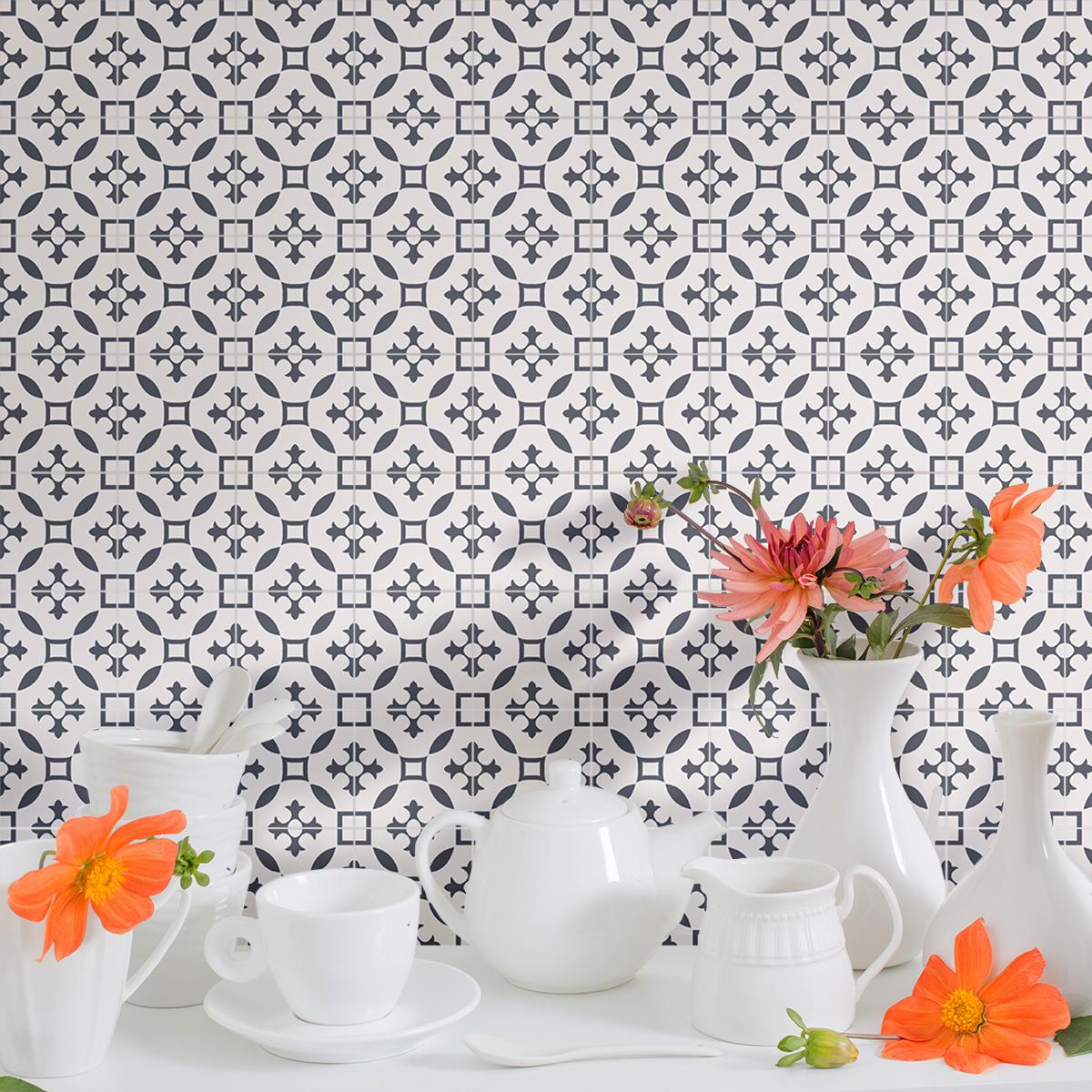 9 stickers carreaux de ciment azulejos venico cuisine. Black Bedroom Furniture Sets. Home Design Ideas