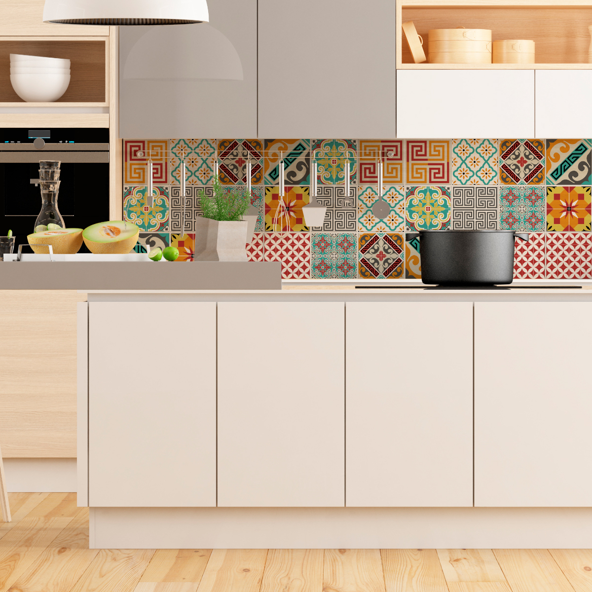 9 stickers carreaux de ciment azulejos violetta cuisine for Stickers carreaux de ciment cuisine