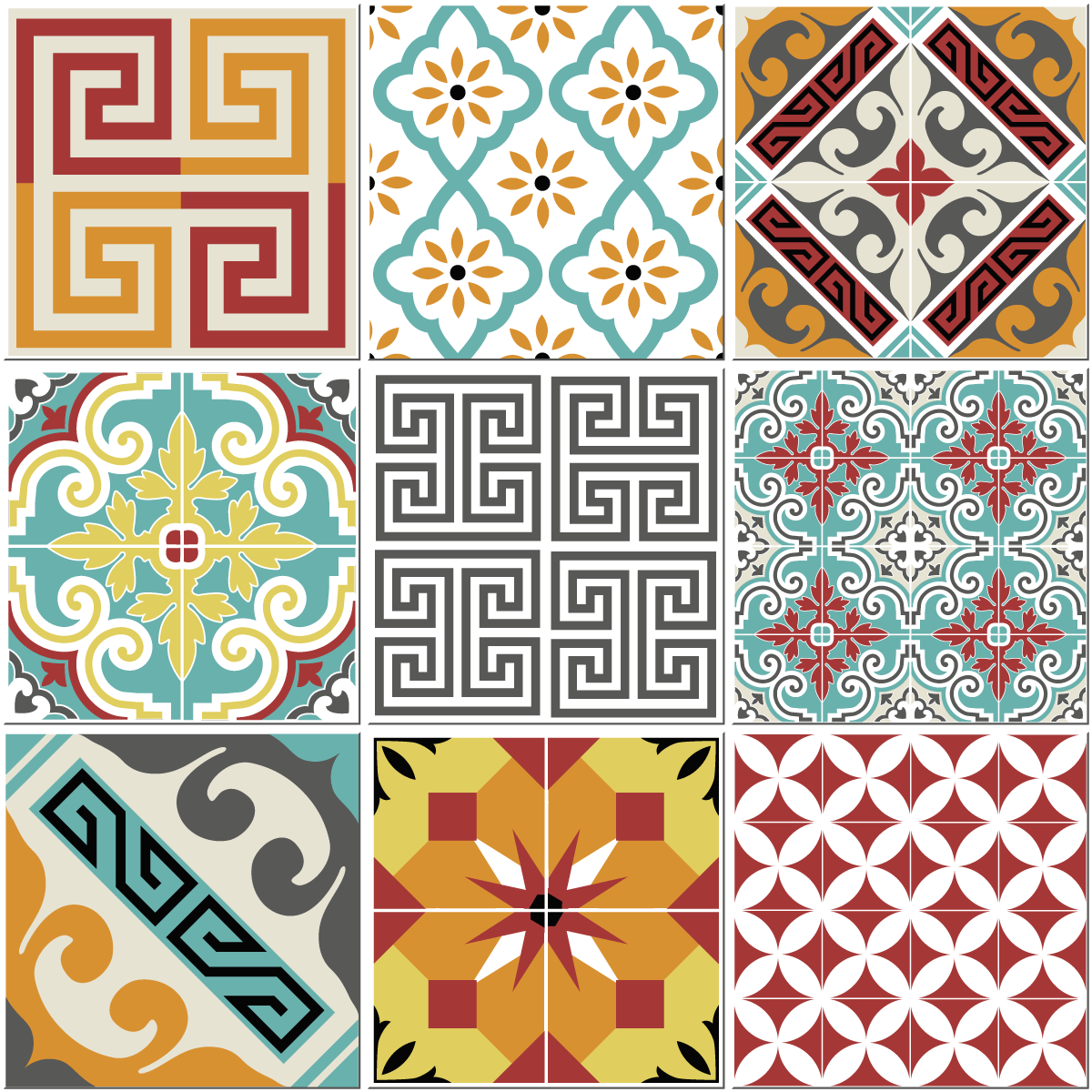 9 stickers carreaux de ciment azulejos violetta cuisine carrelages ambiance sticker. Black Bedroom Furniture Sets. Home Design Ideas