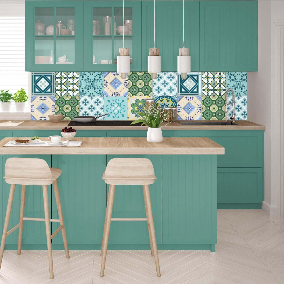 9 stickers carreaux de ciment azur en art et design. Black Bedroom Furniture Sets. Home Design Ideas