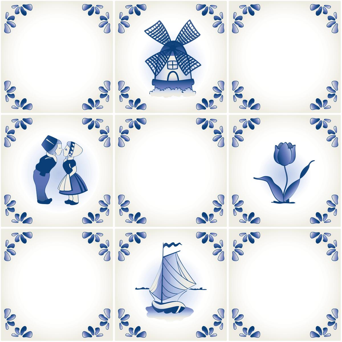 9 stickers carreaux de ciment bleu porcelaine art et - Carreaux de ciment bleu ...