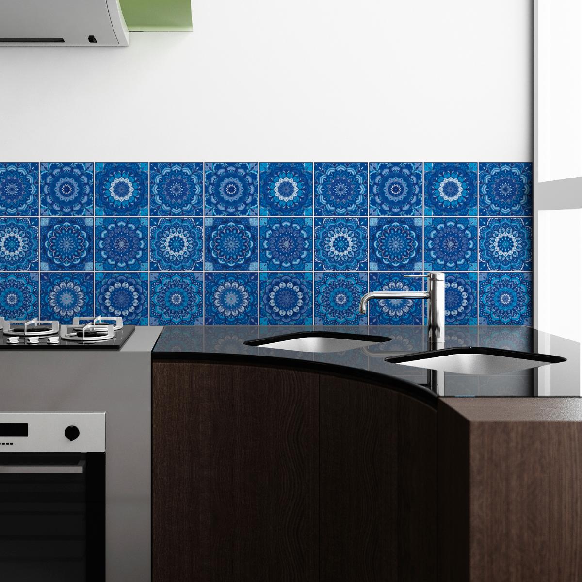 9 stickers carreaux de ciment boh me ollin cuisine - Stickers cuisine carrelage ...
