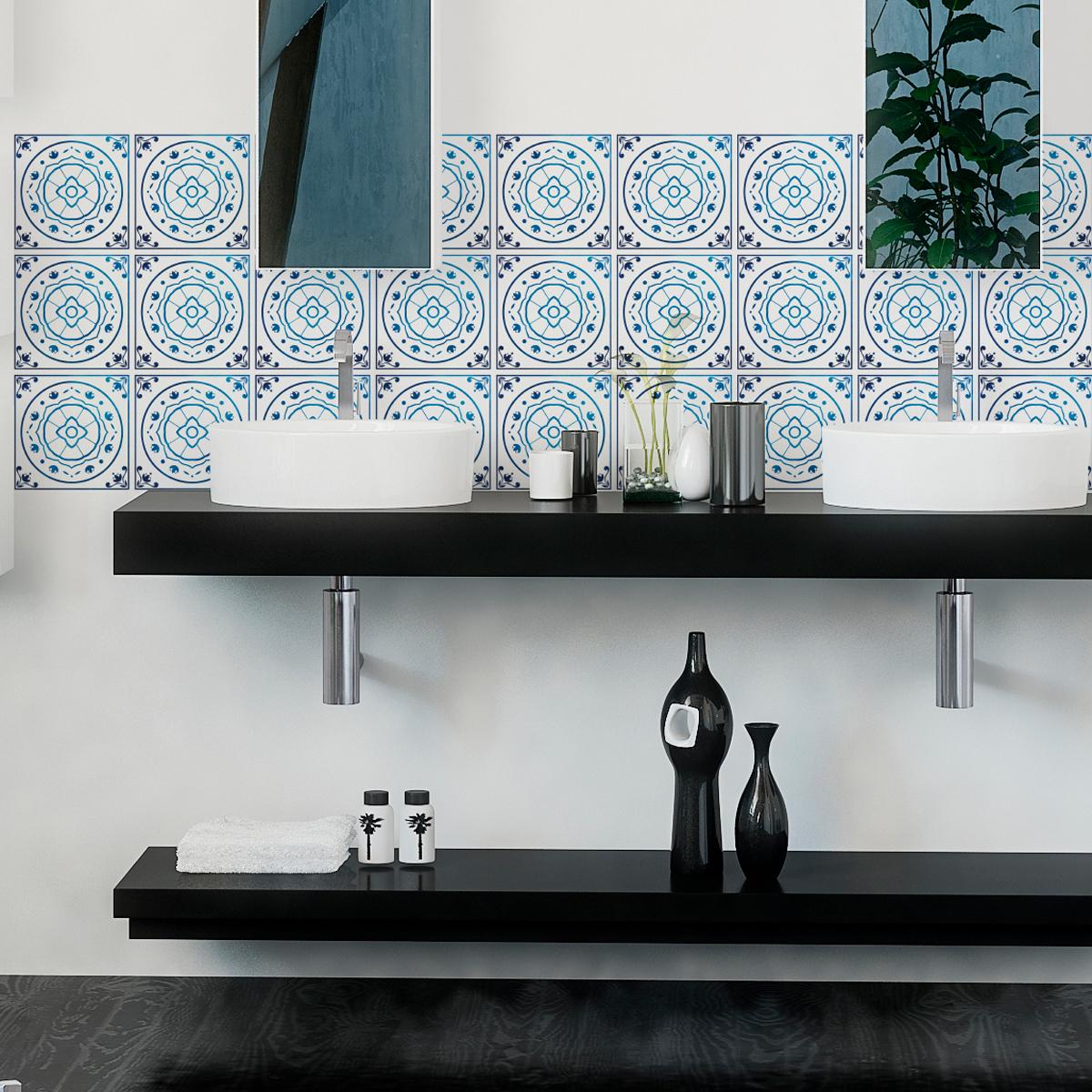 9 stickers carreaux de ciment delft la haye cuisine. Black Bedroom Furniture Sets. Home Design Ideas