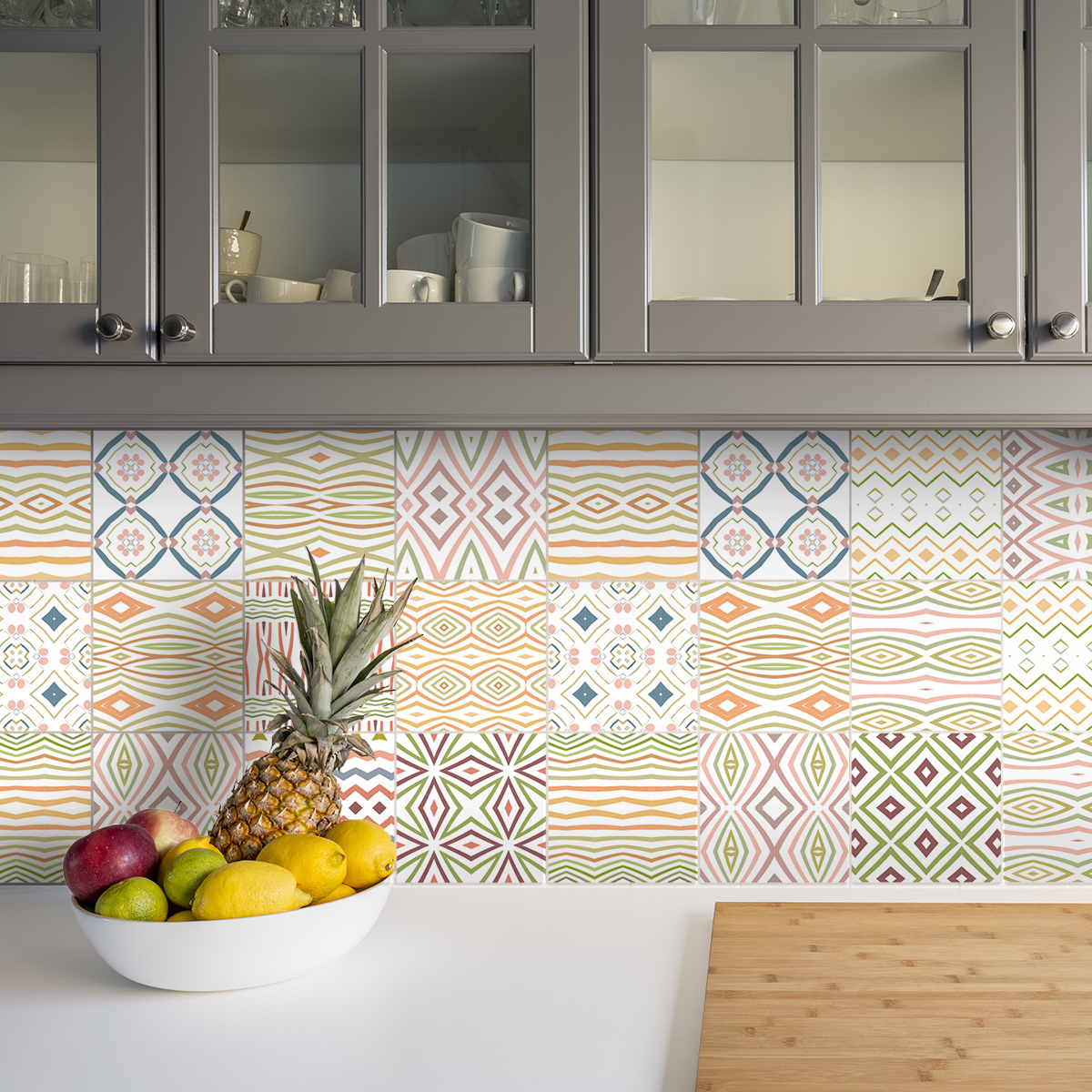 9 stickers carreaux de ciment ethnique arao cuisine. Black Bedroom Furniture Sets. Home Design Ideas