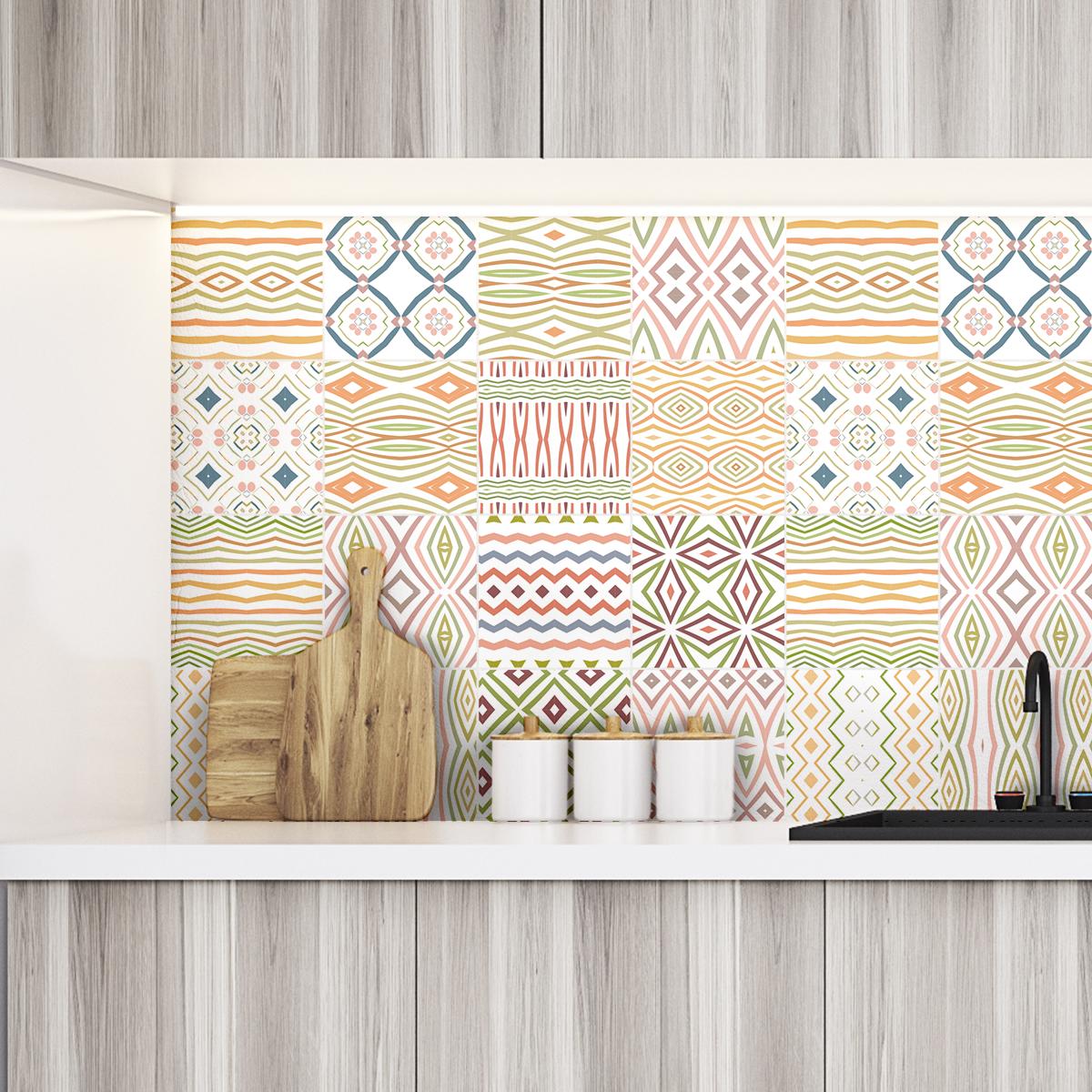 9 stickers carreaux de ciment ethnique arao cuisine. Black Bedroom Furniture Sets. Home Design Ideas