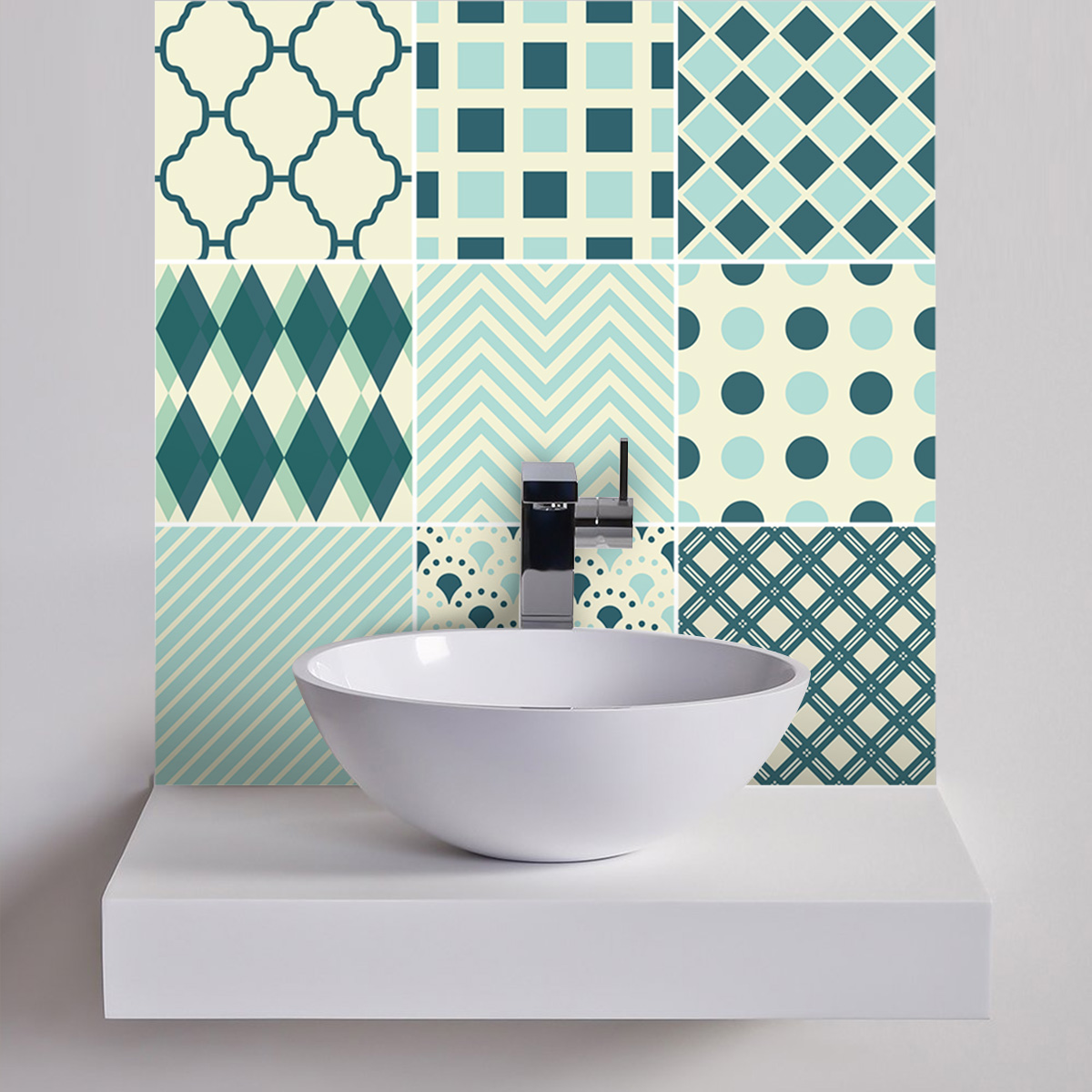 9 stickers carreaux de ciment ethnique hirakata cuisine carrelages ambiance sticker. Black Bedroom Furniture Sets. Home Design Ideas