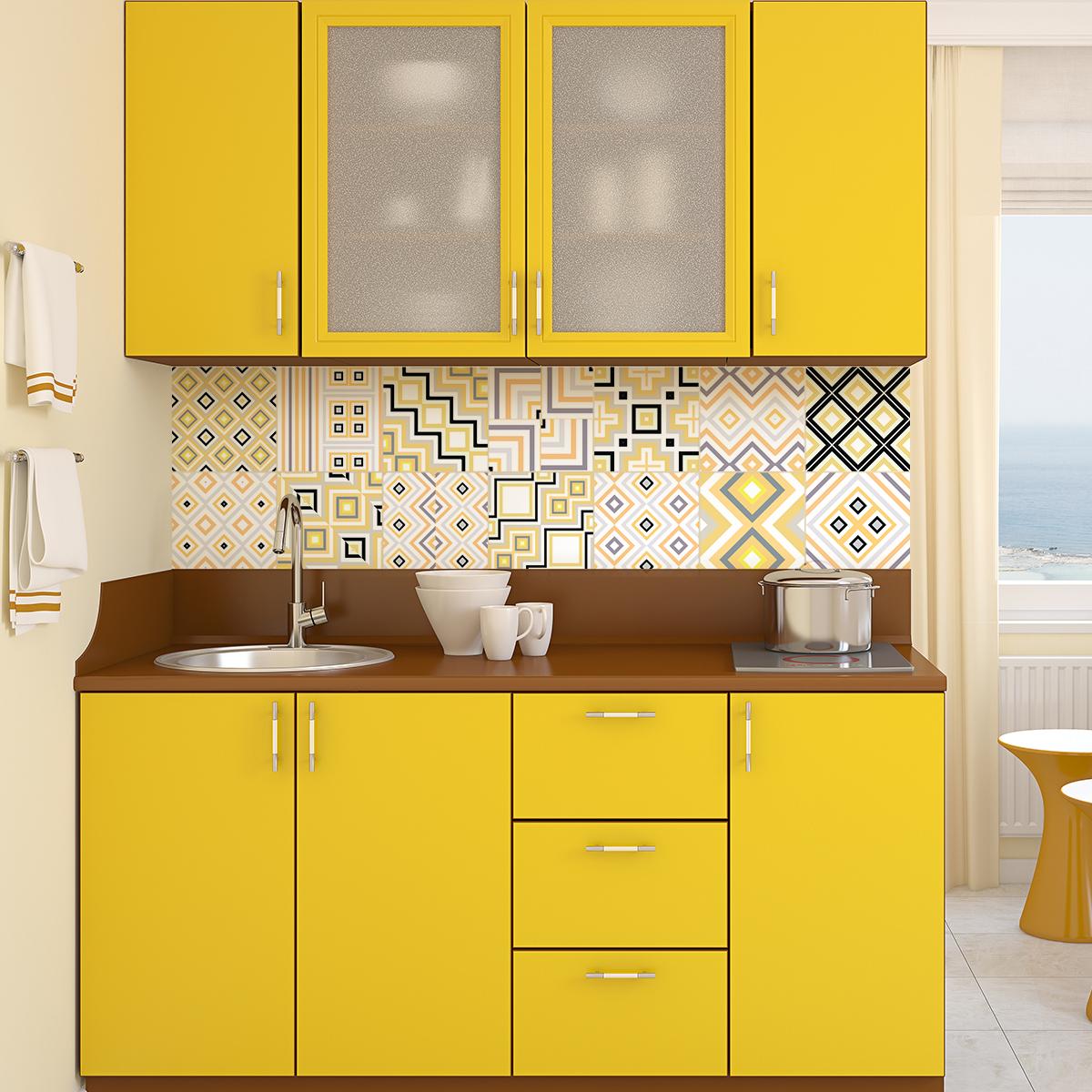 9 stickers carreaux de ciment ethnique kobe cuisine carrelages ambiance sticker. Black Bedroom Furniture Sets. Home Design Ideas
