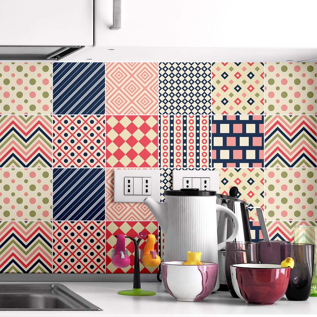 9 stickers carreaux de ciment ethnique nagano cuisine carrelages ambiance sticker. Black Bedroom Furniture Sets. Home Design Ideas