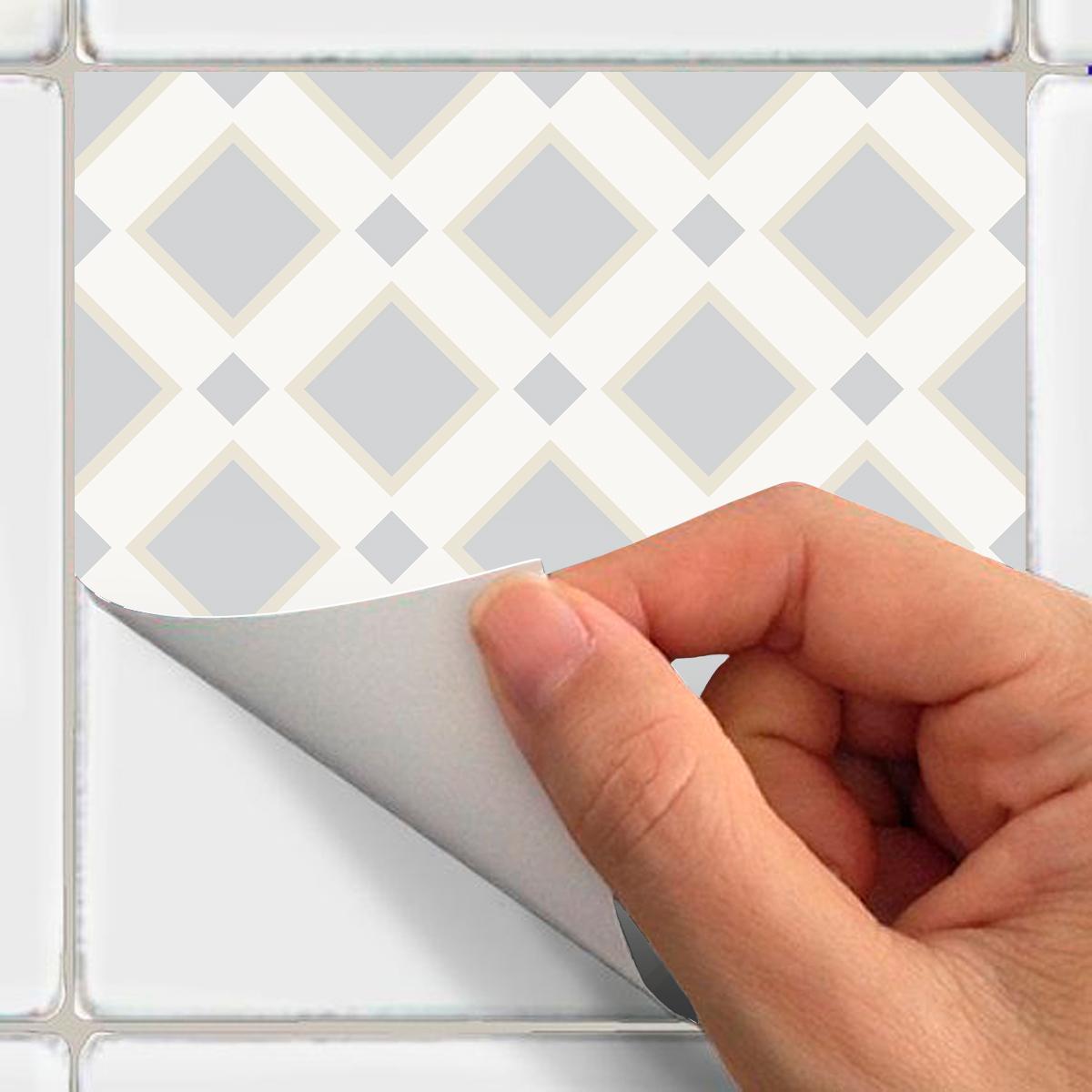 9 stickers carreaux de ciment ethnique nagasaki cuisine for Carrelage 15x15