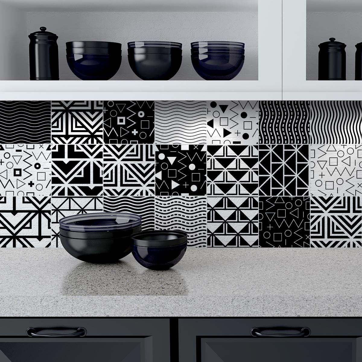 9 stickers carreaux de ciment ethnique pragua cuisine. Black Bedroom Furniture Sets. Home Design Ideas